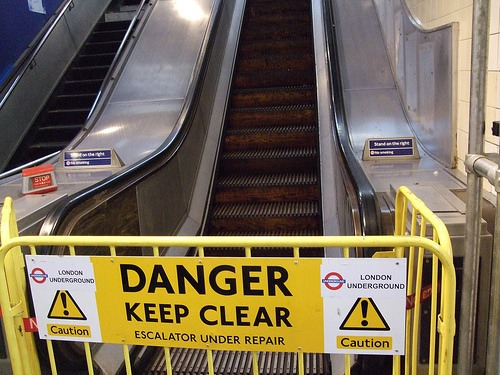 Wooden escalator at Greenford station
