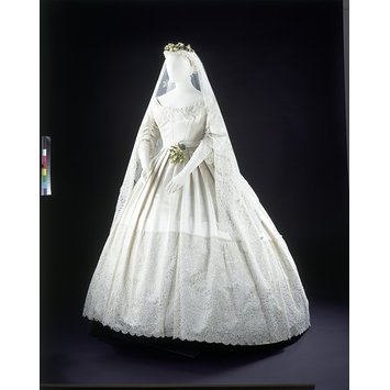 Silk-satin wedding dress from 1865
