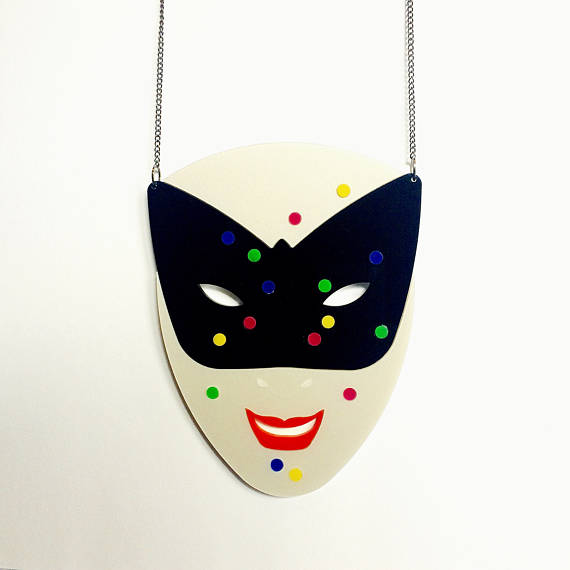 Harlequin Mask Necklace