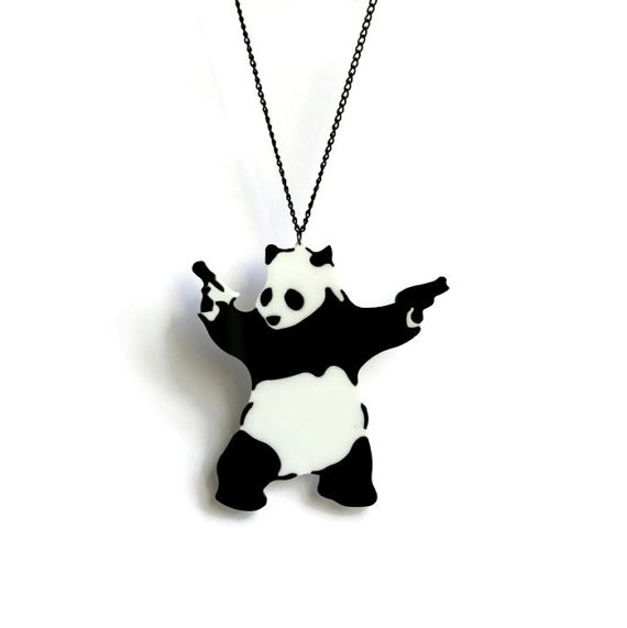 Panda with Guns Necklace