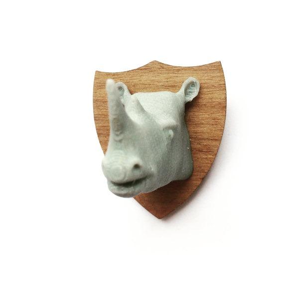 3D Printed Rhino Brooch
