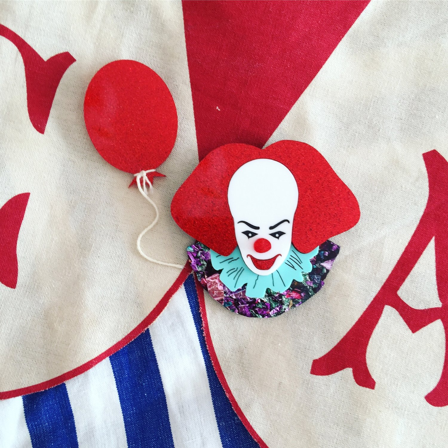 Clown and Red Balloon Brooch