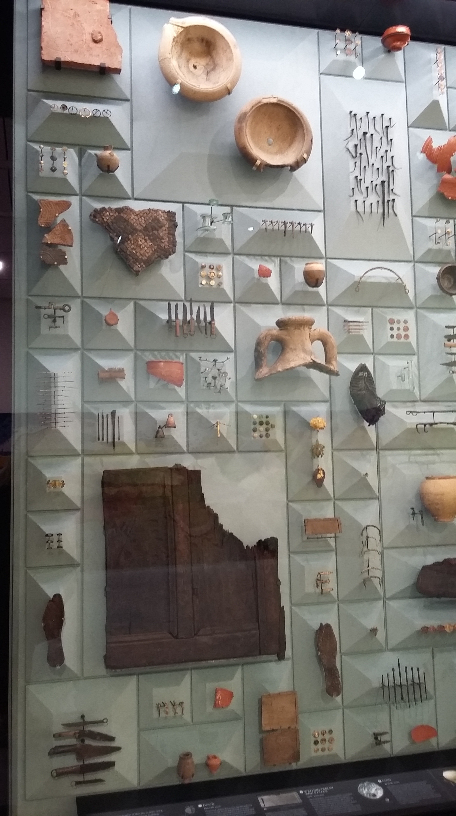 Display of Roman artefacts found during the excavation