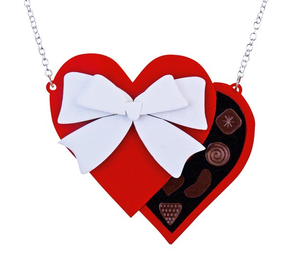 Valentine's Heart Chocolate Box Necklace