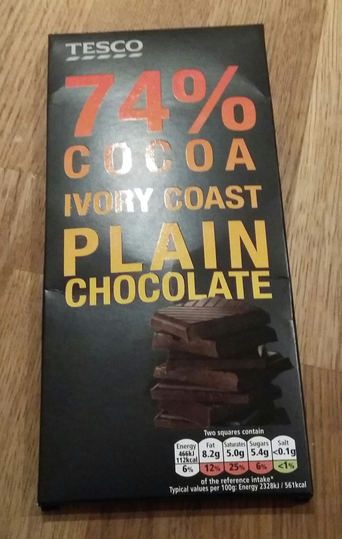 Tesco Ivory Coast 74% Cocoa Plain Chocolate