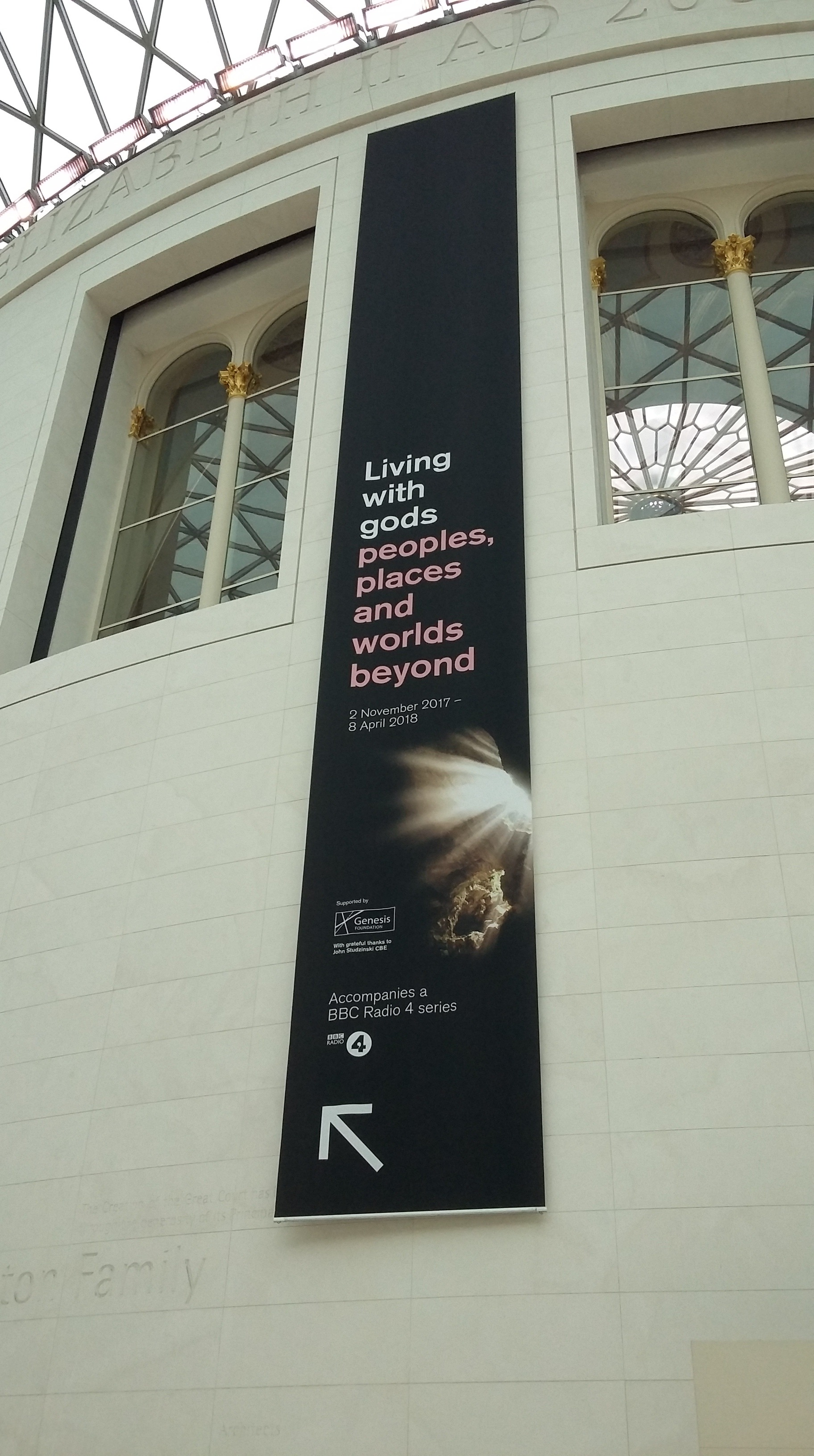 Living with Gods exhibition sign