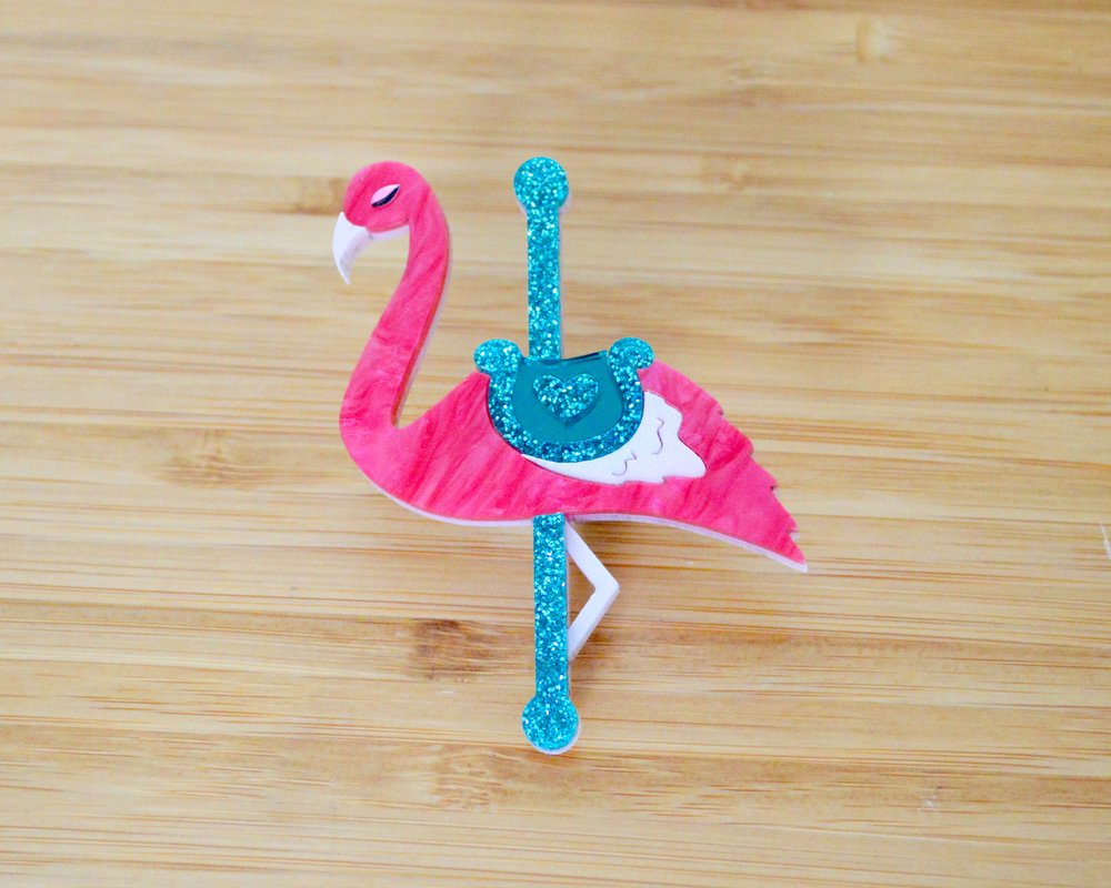 Florence the flamingo carousel brooch
