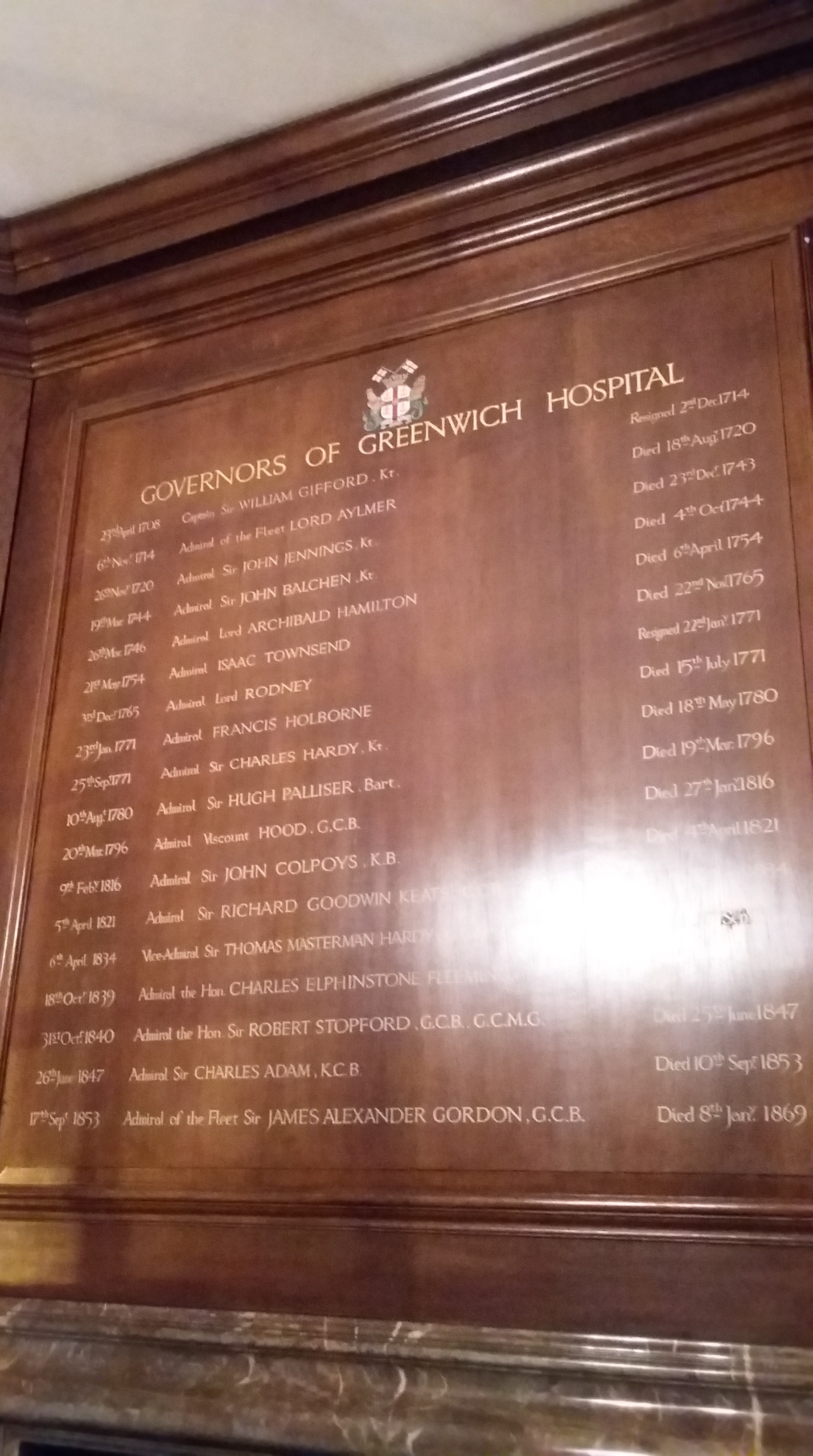 Former governors of Greenwich Hospital