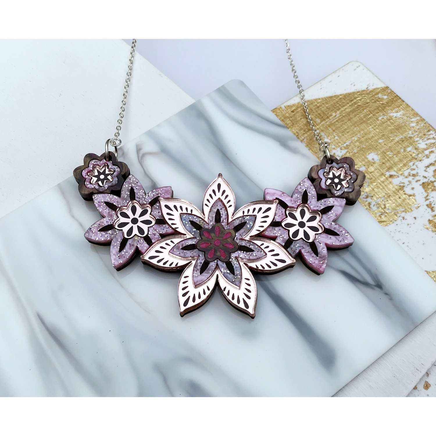 star flower statement necklace