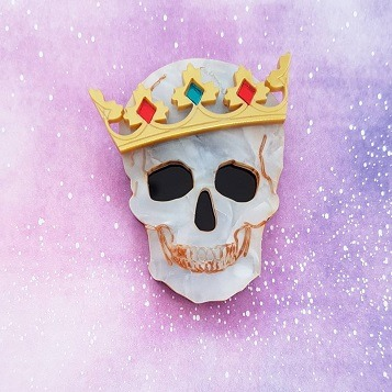 skull and crown brooch