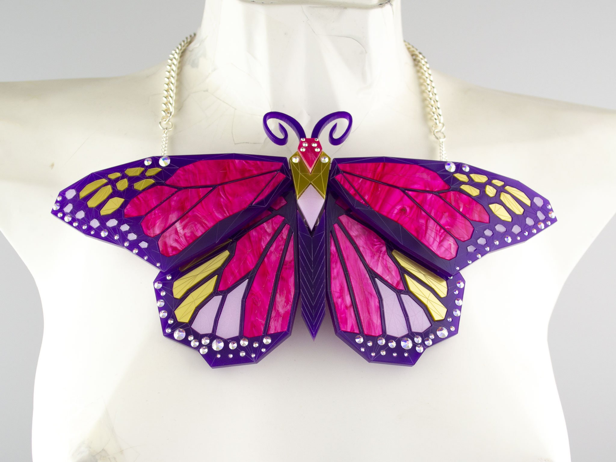 Monarch butterfly necklace - magenta jewel