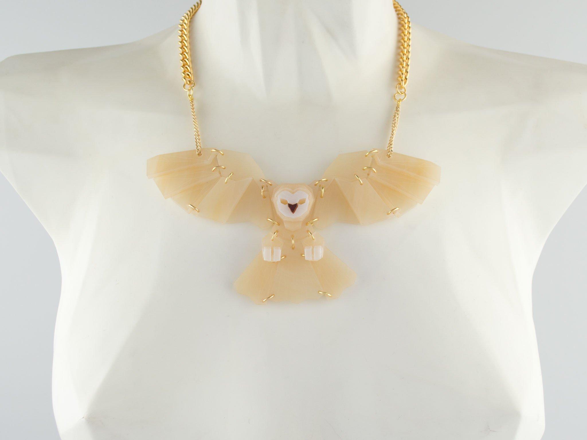 owl necklace - onyx