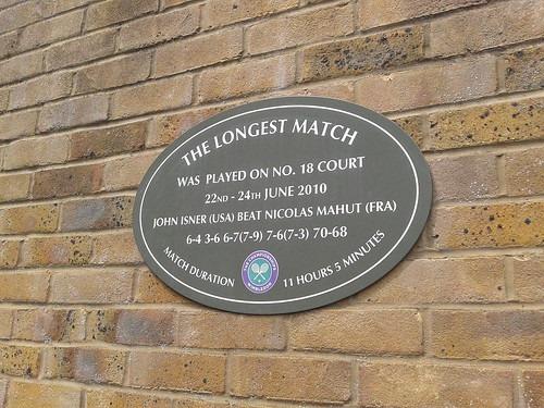 Plaque recording the longest match in 2010