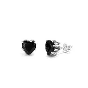 Sterling Silver Black Heart Earrings