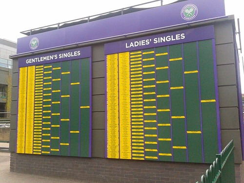 Boards showing the 2012 Wimbledon results