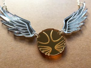 Golden Snitch Laser Cut Acrylic Necklace